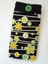 NEW - Handmade Fabric Sunglasses Glasses Case Retro Flower Green Lime Padded