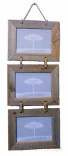 """Chic Shabby Rustic Landscape Wooden Triple Three Hanging Photo Frame 7x5"""" 7 x 5"""