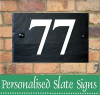 PERSONALISED NATURAL SLATE HOUSE DOOR GATE NUMBER / SIGN PLAQUE ANY NAME 1-999