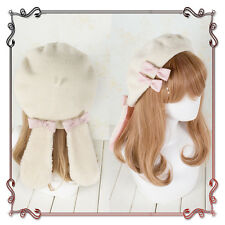 Sweet Lolita Rabbit Ears Warm Kawaii Japanese Princess Beret Cap Painter Hat