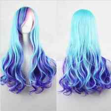 Women Fashion Anime Cosplay Blue Purple Mixed Long Curly Heat Resistant Full Wig