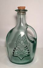 Vintage Glass Bottle Green Clear Handle Made with Cork Canada 6""