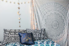 Ombre Mandala Silver Indian Wall Tapestry Wall Hanging Throw Wall Decor Tapestry
