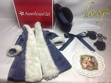 Authentic American Girl Samantha's HOLIDAY COAT, Ribbon, Hanger, Tray w/Pastries