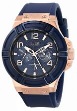 New GUESS Men's U0247G3 Rigor Blue & Rose Gold-Tone Silicone Casual Sport Watch