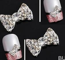 BUUS Lot 10Pcs 3D Clear Alloy Rhinestone Bow Tie Nail Art Slices Diy Decorations