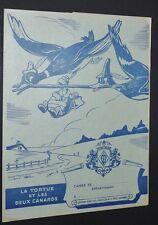 PROTEGE-CAHIER 1950 CHOCOLAT MENIER FABLES DE LA FONTAINE TORTUE ET 2 CANARDS