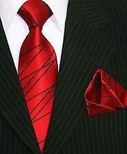 Binder de Luxe Designer Krawatte mit Einstecktuch Krawatten Set Tie Rot 412