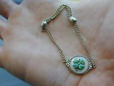 Vintage 835 Silver Mother of Pearl Guilloche Enamel Four Leaf Clover Bracelet