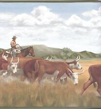 Western Cowboy Moving the Cow Herd Green Edge Wallpaper Border CB12164B