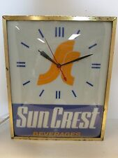"Vintage 16"" Sun Crest Clock Circa 1960, Soda Advertising"