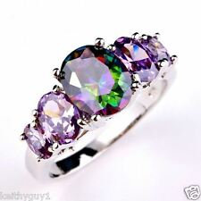 Unusual mystic topaz and amethyst style fashion ring in size R1/2