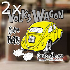 2x pieces Volkswagon sticker beetle decal aircooled volkswagen bug bus 3.5""