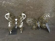 Gisela Graham Christmas gold glitter butterfly decorations set of two