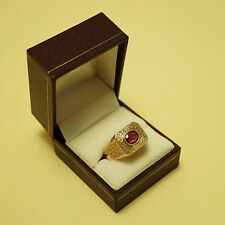 Solid 14k Vintage 14ct Yellow Gold Natural Ruby Ring 11.7 Gms Size U 10.5