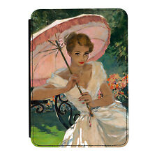 Pin Up Girl Pink Umbrella Poster iPad Mini 1 2 3 PU Leather Flip Case Cover
