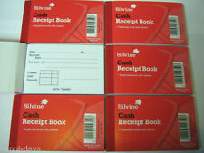 SILVINE POCKET SIZE DUPLICATE CASH RECEIPT BOOK WITH CARBON.PACK OF SIX