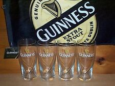GUINNESS STOUT 4 GALAXY STYLE 20oz GRAVITY BEER PINT GLASSES & BAR TOWEL NEW