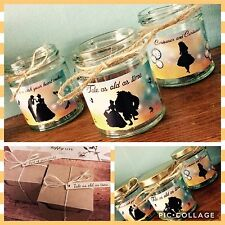 Disney Inspired Jar Candles Beaty and the Beast, Alice in Wonderland, Little Mer