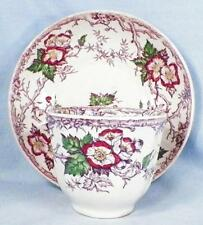 Apple Blossom Cup & Saucer Handleless Pinder & Bourne Mulberry Transferware AsIs