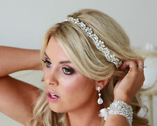 OPAL HEADBAND Hairwrap crystal Wedding Tiara Hairband Pearl Bride Rhinestone