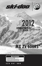 Ski-Doo owners manual book 2012 MX Z x 600 RS