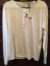 New Men's RAG & BONE IVORY SLACKER HENLEY LARGE 100% Cotton Retail $110
