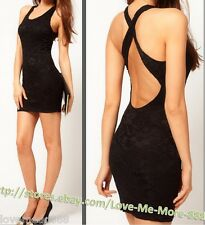 NEW Womens Round neckline Cross strap open back Lace Mini Club party Dress LARGE