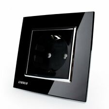Livolo Black Crystal Glass 16A EU Wall Power Socket VL-C7C1EU-12 AC110~250V