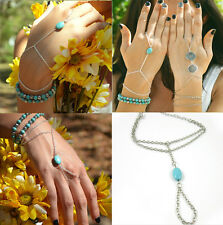 Ladies Turquoise Slave Bangle Chain Finger Ring Hand Harness Bracelet Silver CH