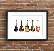 George Harrison's Guitars - POSTER PRINT A1 size