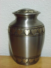"Beautiful Pewter w/Bronze Heart Banding Brass Pet Urn~6""~for up to 40 Lbs"