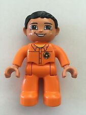 *NEW* Lego DUPLO Male ORANGE Legs & Top Recycle Logo and BLACK Hair