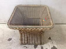Wicker glass top end table Lot 2011
