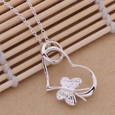 New 925 sterling Silver Plated beautiful cute women HEART flower Necklace P090