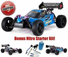 Remote Control Car Racing 1/10 Radio RC Buggy Gas Toy Kid Fuel Nitro Starter Kit