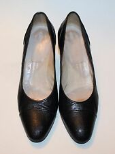 CHANEL Black Leather Reptile Animal Skin Pumps Shoes Sz 38