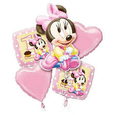 MINNIE MOUSE 1ST BIRTHDAY PARTY SUPPLIES 5 HELIUM FOIL BALLOON BOUQUET LICENSED
