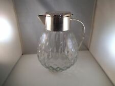 Vintage Made in West Germany Wine Pitcher & Ice Chiller Crystal & Silverplate