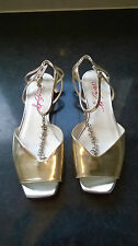 NEW Miss Sixty gold leather strappy flat sandles with chain UK 4 EU 37