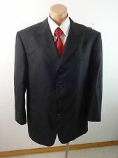 JONES NEW YORK MENS 100% WOOL BLACK PINSTRIPE SUIT JACKET SPORT COAT SIZE 44 R