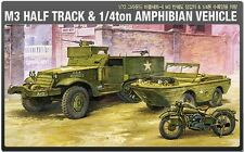 Academy 1/72 Plastic Model Kit M3 Half Track&1/4ton Amphibian Vehicle 13408 NIB