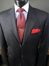 Recent HICKEY FREEMAN Navy Pinstriped Wool Suit 42R 3 Button Side Vents.