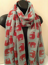 Ladies Women Elephant Print GREEN And RED Scarf Wrap Shawl Pashmina