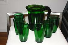 Vintage 7pc. Set Vereco France Emerald Glass Tumblers Pitcher w/ Bakelite