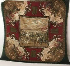 Vintage Fox Hunt Artsy Scarf Made in Italy Equestrian Hunting Red Green Horses