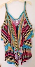 BELLE DU JOUR PINK MULTI COLOR STRIPED TIERED TANK TOP WOMENS SIZE 2X
