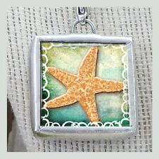 "Sea Side Beach Fun SS01 1"" Pendant Charm by IMCC & Crystal Dangle by Jewel Kade"