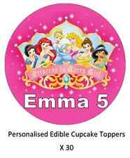 30x Disney Princess Personalised Cupcake Toppers Edible Wafer Paper Fairy Cakes