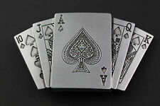 ACE PLAYING CARDS KING QUEEN GAMBLING BELT BUCKLE METAL ACE OF SPADES